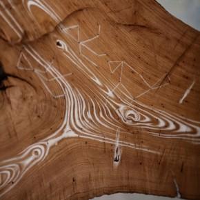 Anna Ippolito, Universi paralleli, 2012, gesso e acrilico su legno, acciaio, particolare