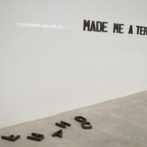 Lavinia Raccanello, Franco made me a terrorist, 2016, lettere in ferro, video, dimensioni variabili
